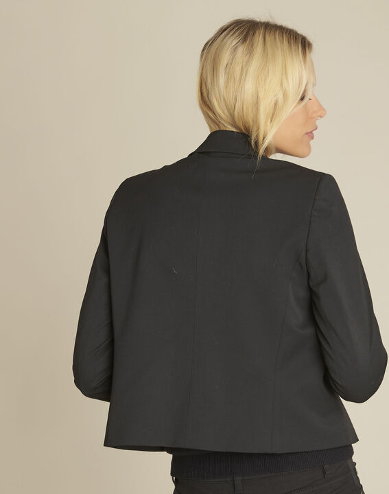 Zweireihige kurze schwarze Jacke Sarah (4) - 1-2-3