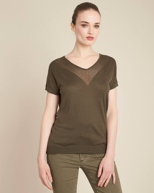 Never khaki, fine-knit sweater with openwork neckline (2) - 1-2-3