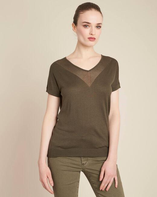 Khakifarbener Feinstrick-Pullover mit Ajour-Ausschnitt Never (2) - 1-2-3