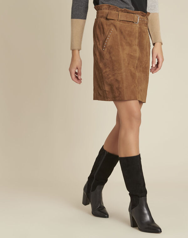 Apache camel suede leather skirt with eyelets (1) - 1-2-3