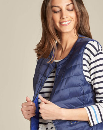Yvanka navy blue sleeveless padded coat navy.