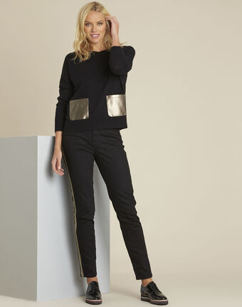 Baltic black wool cashmere pullover with faux leather pocket black.
