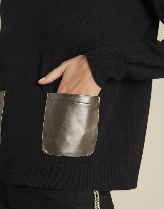 Pull noir laine cachemire poche faux cuir Baltic (3) - 1-2-3