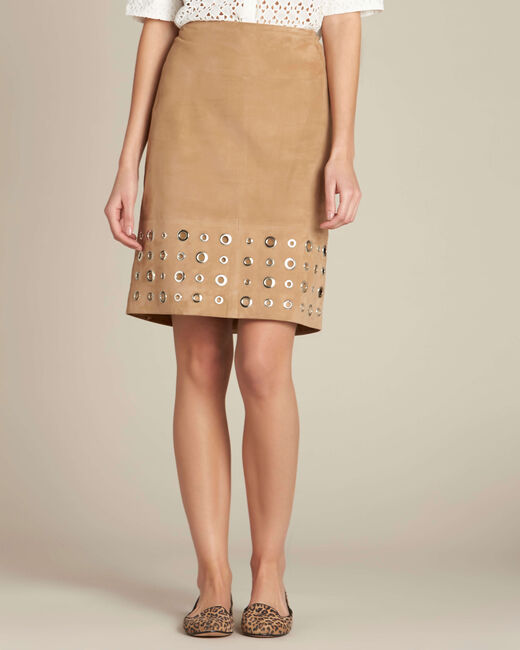 Lilou beige suede skirt (2) - 1-2-3