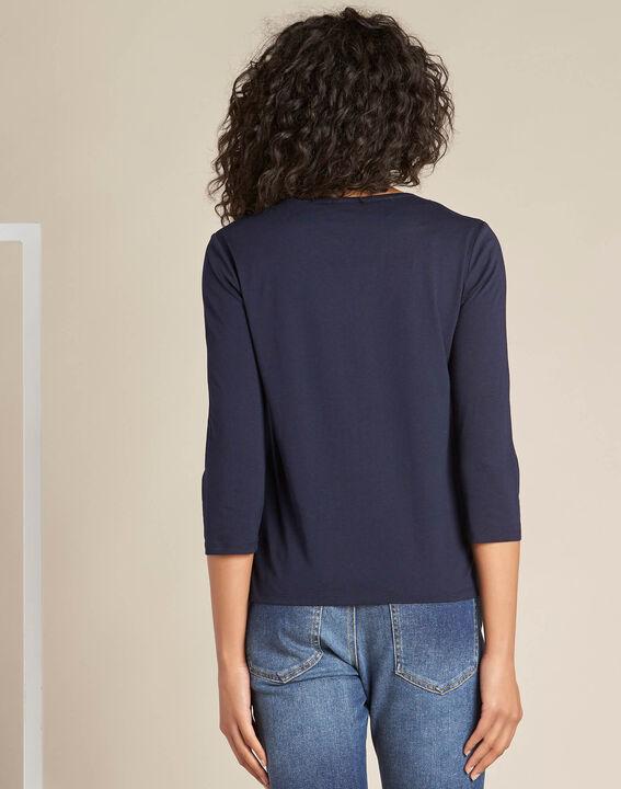 Greg navy blue T-Shirt with granddad collar (4) - 1-2-3