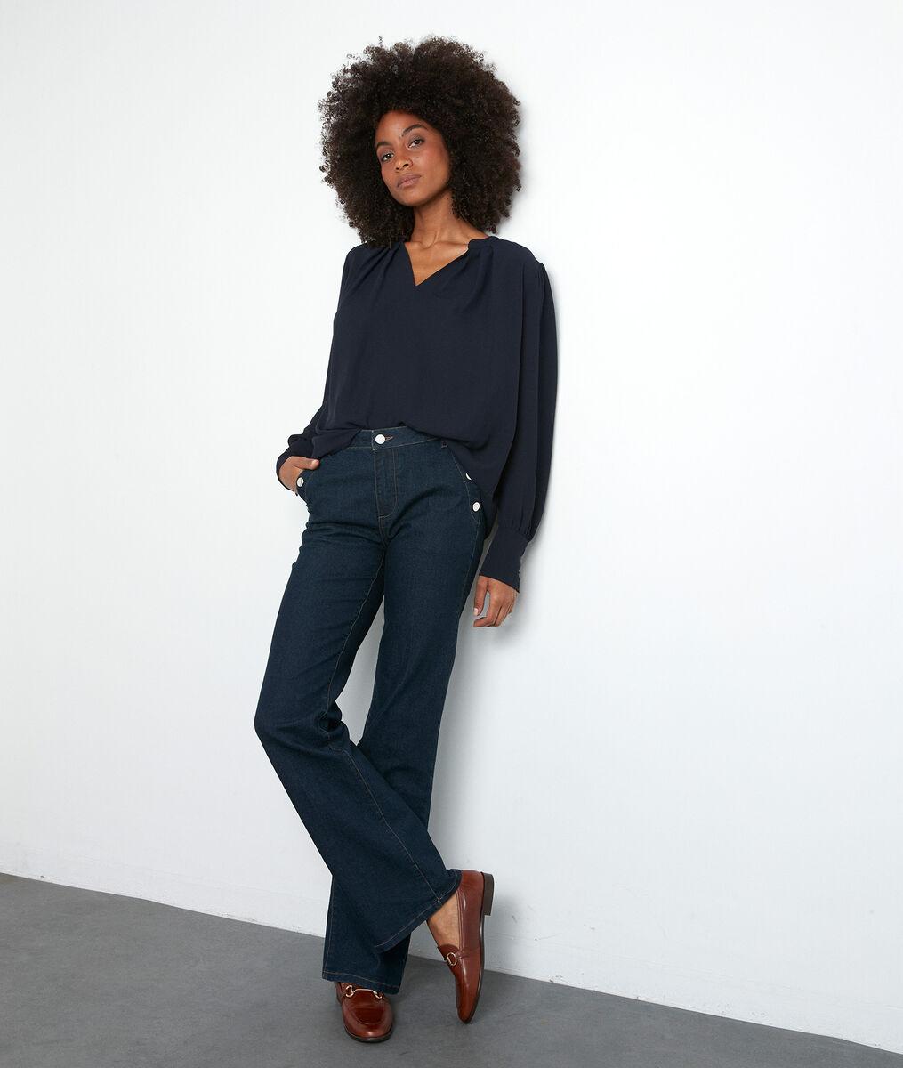 Marineblauwe soepele en gestructureerde blouse Adixia PhotoZ | 1-2-3