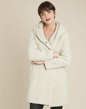 Edwin ecru hooded wool mix coat ecru.