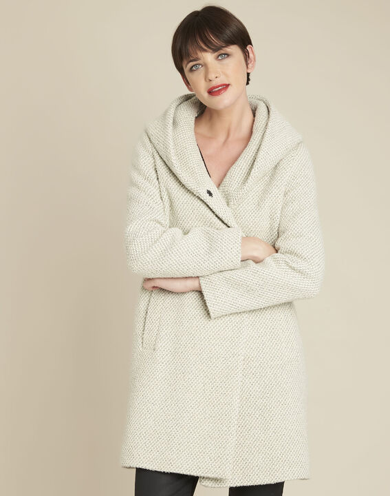 Ecrufarbener Mantel mit Kapuze aus Wollgemisch Edwin PhotoZ | 1-2-3