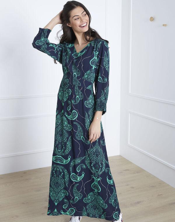 f506084fdb6be5 ... Lange marineblauwe jurk met print van kasjmier Lidiane (2) - Maison 123  ...