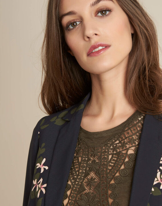 Demoiselle black floral printed fitted jacket PhotoZ | 1-2-3