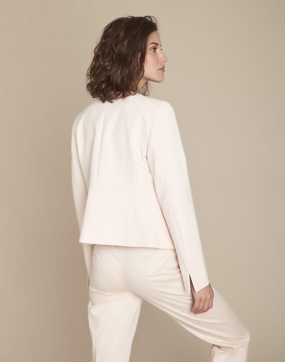 Puderfarbene Jacke aus Mikrofaser mit Pattentaschen Charme (4) - Maison 123