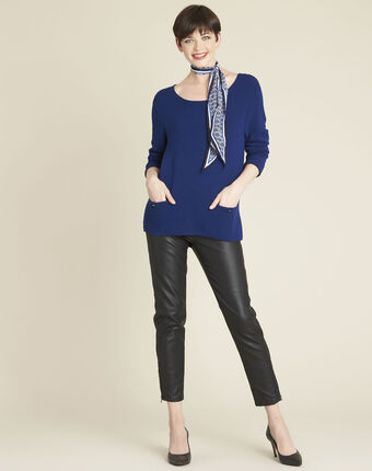 Blandine sapphire pullover with pocket details mid blue.