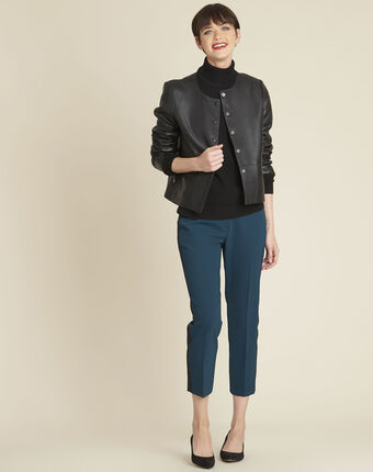 Zwarte trui van kasjmier met rolkraag berceuse noir.