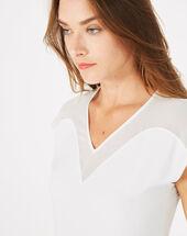 Beryl pale ecru dual-fabric t-shirt ecru.