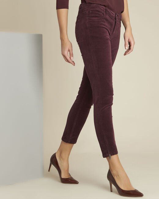 Bordeauxrote Slim Jeans aus Samt Vendome (1) - 1-2-3