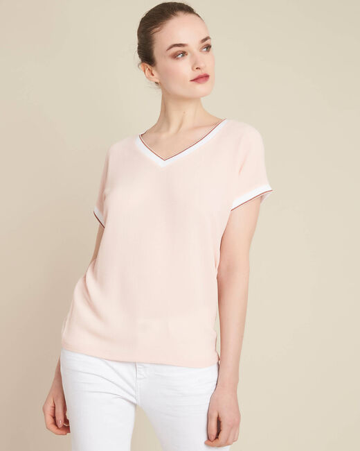 Gauttier V-neck pale pink T-shirt with gold trim (2) - 1-2-3