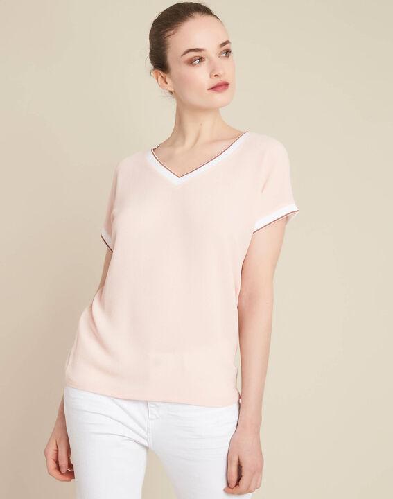 Gauttier V-neck pale pink T-shirt with gold trim (3) - 1-2-3