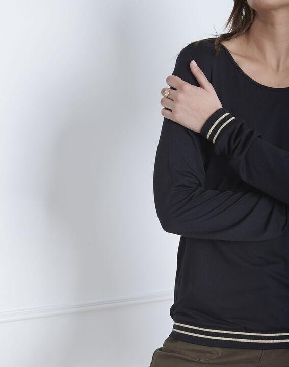 Tee-shirt noir fluide bords côtes rayés Pompom (3) - Maison 123