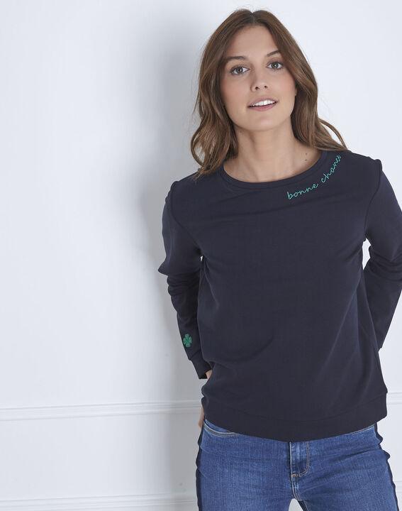 Marineblaues Sweatshirt bestickt Ausschnitt Pastel PhotoZ | 1-2-3