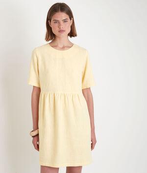 Robe courte en lin certifié jaune Latoya