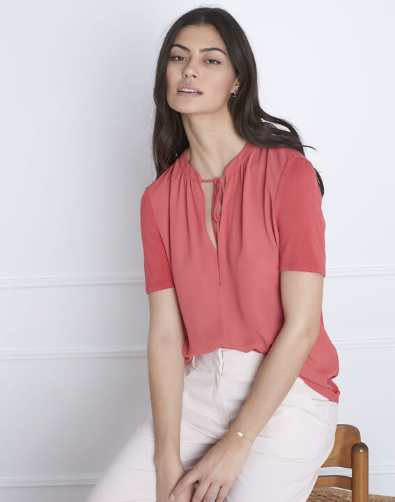 Blouse corail encolure lacée Viola PhotoZ | 1-2-3