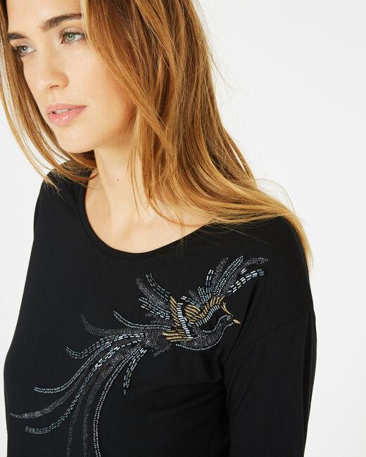 Tee-shirt noir oiseau sequins Beads (2) - 1-2-3