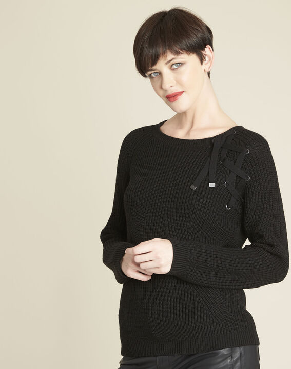 Bountie black wool mix pullover with lacing detail (1) - Maison 123