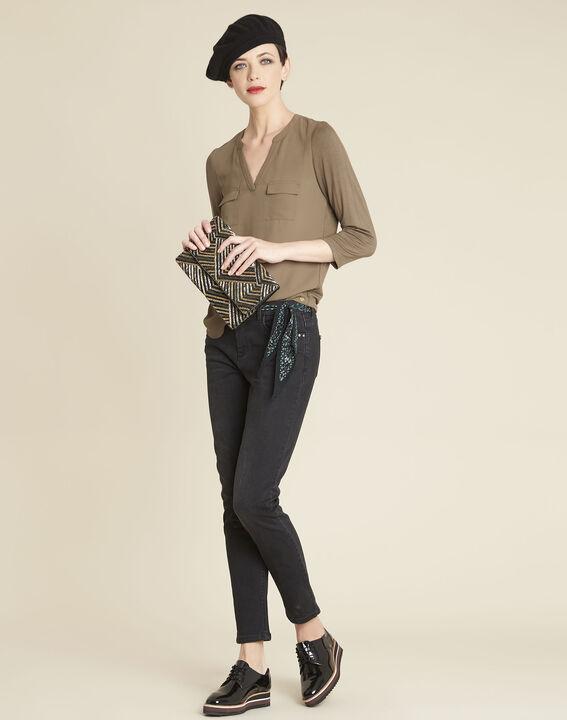 Genna khaki dual-fabric T-shirt with granddad collar (2) - 1-2-3