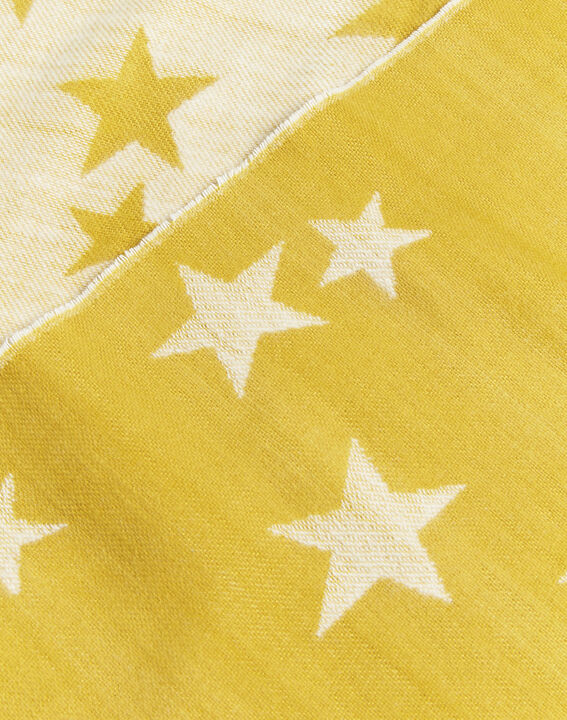 Frise yellow fringed scarf with star pattern (2) - 1-2-3