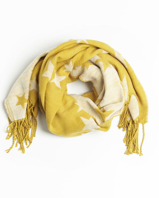 Echarpe jaune motif étoiles à franges Frise (1) - 1-2-3
