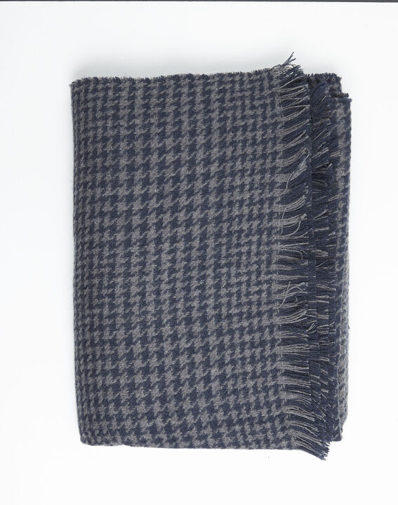 Feline grey checked wool scarf (2) - 1-2-3
