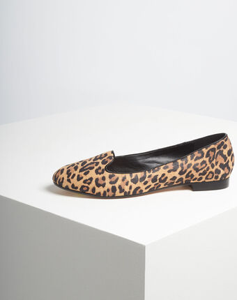 Kim leather leopard print ballerina pumps camel.