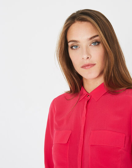 Déesse fuchsia shirt with patch pockets in silk (1) - 1-2-3