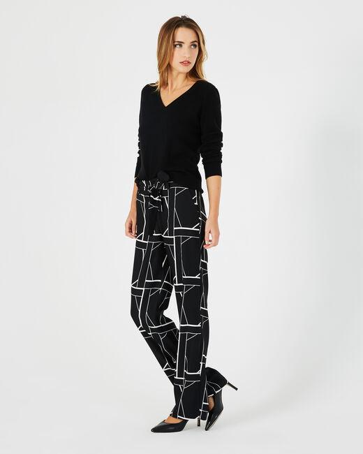 Pantalon noir imprimé fluide bande côté Kamelia (1) - 1-2-3