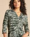 Khakifarbenes Print-T-Shirt mit Tunika-Kragen Esnake (1) - 1-2-3