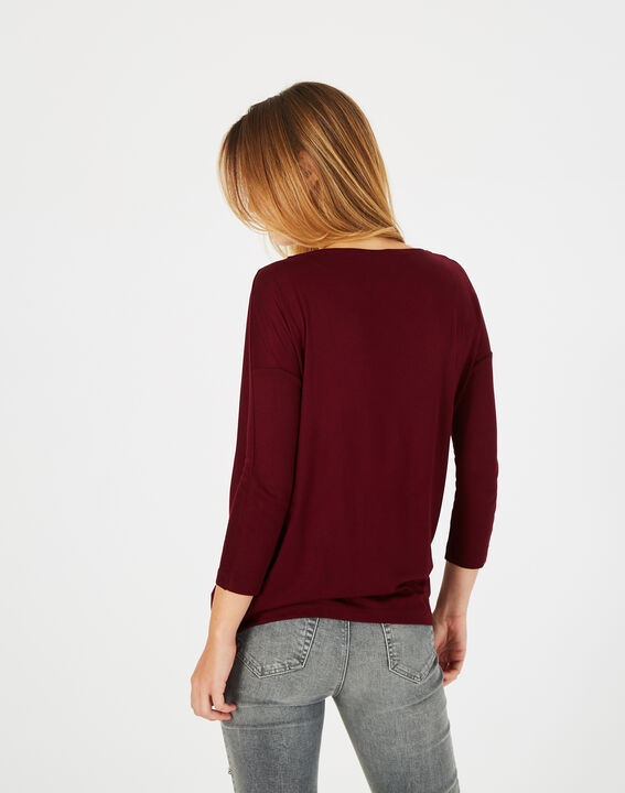 Tee-shirt carmin col rond Bree (4) - 1-2-3