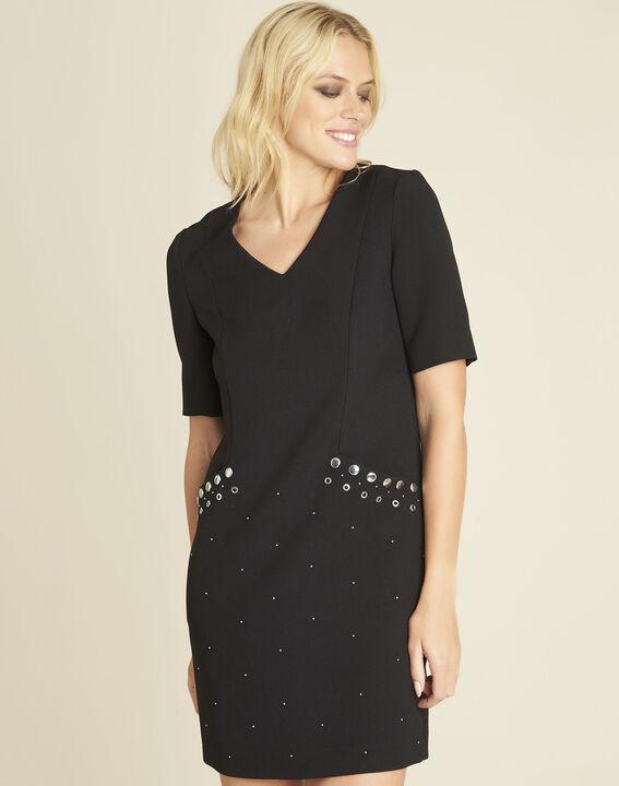 Kompaktes schwarzes Kleid mit Nieten an den Taschen Daisy PhotoZ | 1-2-3