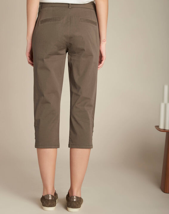 Jamy khaki cotton cropped trousers with lacing (4) - 1-2-3