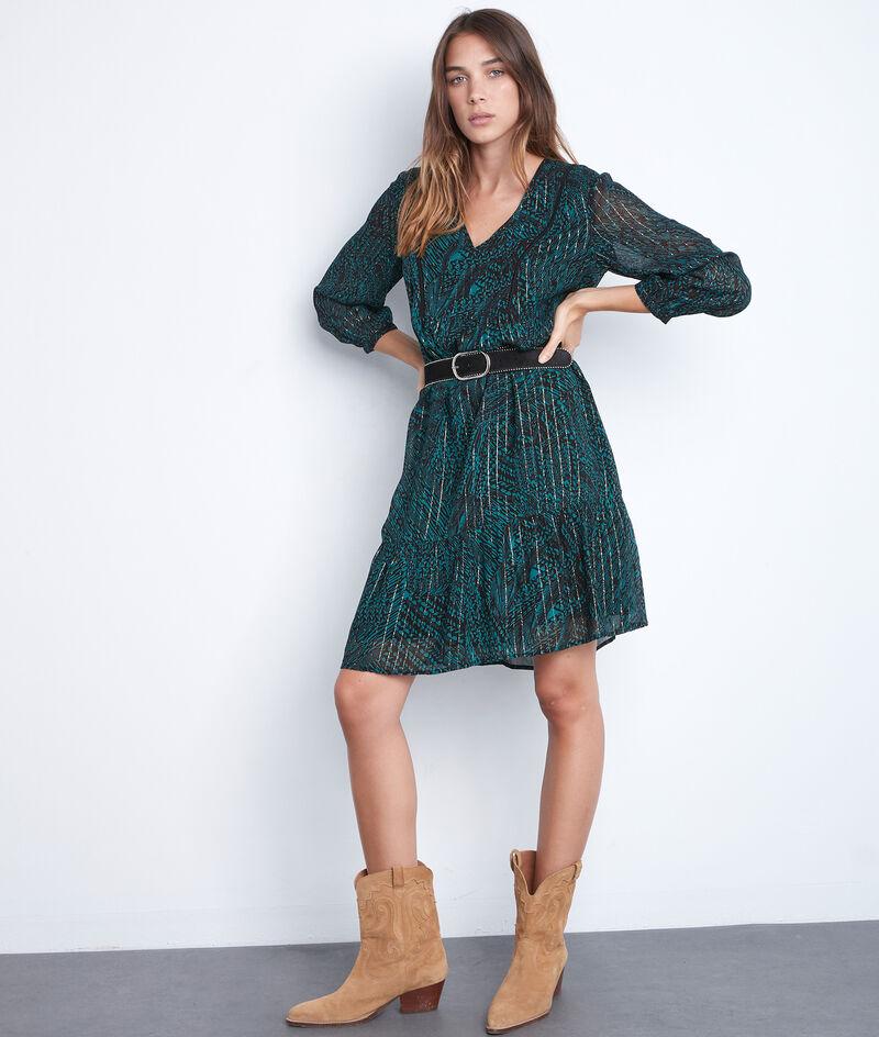 Robe courte et fluide imprimée verte et noire Soraya PhotoZ | 1-2-3