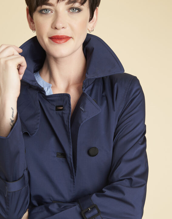 Elegant 3/4-length navy blue trench coat with contrasting trim (3) - 1-2-3