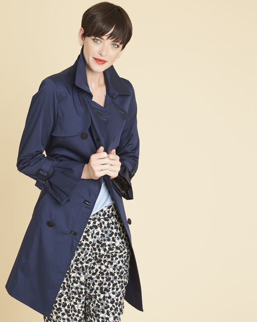 Elegant 3/4-length navy blue trench coat with contrasting trim (1) - 1-2-3