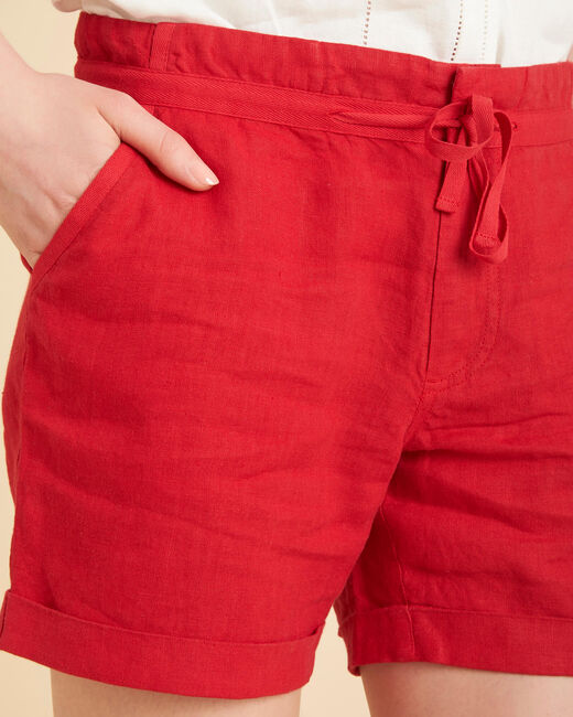 Citron red linen shorts (2) - 1-2-3