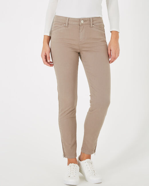 Pia taupe 7/8 length satin trousers (1) - 1-2-3