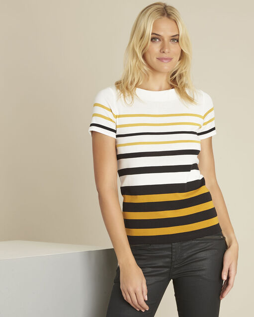 Tee-shirt ambre rayé col rond Gasayat (1) - 1-2-3