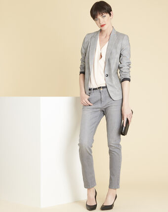 Demoiselle grey jacket with prince of wales design light chine.
