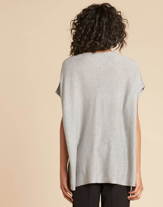 Nathan pale gray silk and cashmere cape (4) - 1-2-3