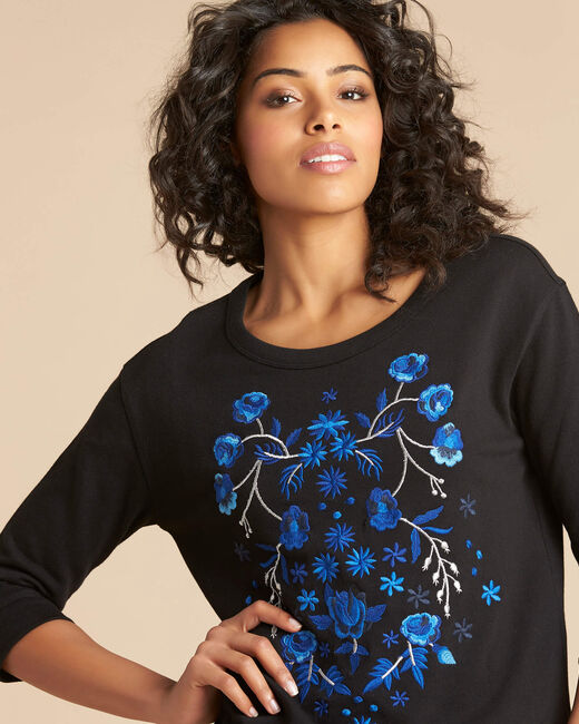 Eldorado black embroidered sweatshirt with 3/4 length sleeves (2) - 1-2-3