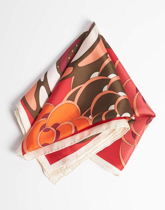 Carré de soie motifs floraux rouge Alegria PhotoZ | 1-2-3
