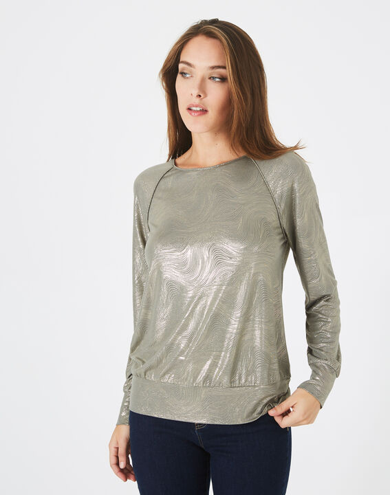 Sweat-shirt kaki imprimé brillant Brindille (3) - 1-2-3