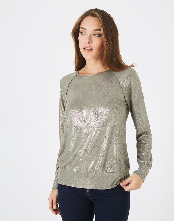 Sweat-shirt kaki imprimé brillant Brindille (3) - 1-2-3
